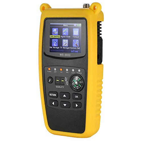 Medidor buscador de señal satelital Digital, WS6933 Medidor buscador satelital LCD Receptor de TV satelital Digital con brújula y Alarma de luz de Sonido para señal de Bloqueo