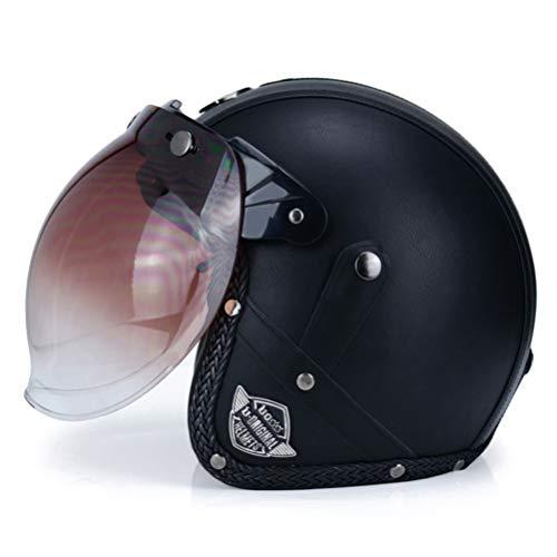 Retro Motorradhelm Capacetes PU Leder Open Face 3/4 Chopper Fahrradhelm DOT Jet Helm mit Goggle Maske oder Bubble Visier