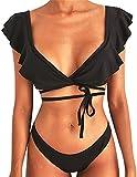 Voqeen Conjunto de Bikini de Mujer Verano Sexy Push Up Ruffle Ropa de Playa Bikini de triángulo Push up Traje de baño Acolchado Conjunto de Bikini de Mujer con Estampado de Flores