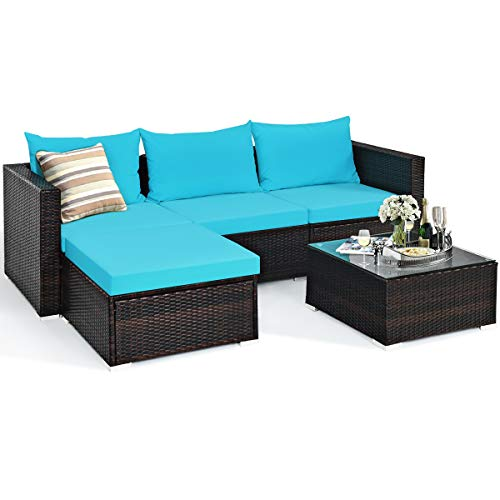 Tangkula 5 Piece Outdoor Patio Furniture Set, Sturdy Frame and Weight Capacity Up to 360 Pound, Wicker Sectional Sofa Set with Glass Top Coffee Table, Porch Garden Poolside Furniture for 4 (Turquoise)