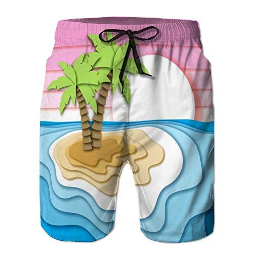 jiilwkie Herren Shorts, Badehose, Freizeithose Sommerferienkonzept Tropische Insel Sandstrand Meer Ozean Wellen Sonnenuntergang Himmel Papier ausgeschnittener Stil Hübsch M