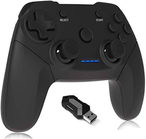 Maegoo Mando PC PS3 Inalámbrico, 2.4GHz Wireless Game Mando Controlador Gamepad Joystick con Dual Shock Recargable para Playstation 3 y PC Windows 10 XP 7 8 8.1 Smart TV/TV Box (Negro)