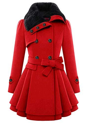 EFOFEI Damen Schwarz Wintermantel Lange Daunenjacke mit Kapuze Jacke Outwear Winter Warm Trenchcoat Gefüttert Teddyfell Navy Khaki Rot rot M