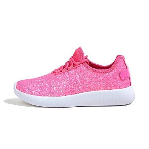 ROXY ROSE Women Fashion Jogger Sneaker - Lightweight Glitter Quilted Lace Up Shoes & Elastic Tongue (Hot Pink,6 B(M) US)