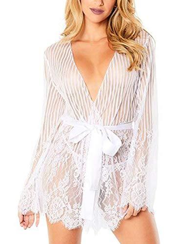 FeelinGirl Mujer Batín Sexy Abierta Rayas Conjuntos de Lencería Encaje con Tanga Blanco XL