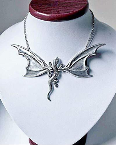 Focisa Collar Colgante Cadena Collares Hombre Mujer Collar Collar De ala De Murciélago con Dragones, Collar De Murciélago, Regalo para Amante Gótico, Regalo De Joyería De Cosplay