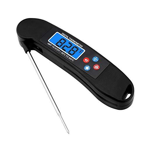 Termómetro de cocina, termómetro digital impermeable para carne, termómetro de cocina con sonda plegable, lectura instantánea para cocinar, dulces, leche, té, carne, barbacoa, humo, negro