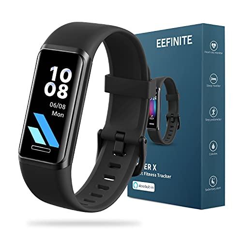 EEFINITE Fitnessuhr für Damen Herren, Alexa Built-in, 5ATM Wasserdicht Fitness Tracker mit Blutsauerstoff Herzfrequenz-Monitor, Schlaf&Schwimmen Tracking, Schrittzähler Uhr Kalorienzähler, Schwarz