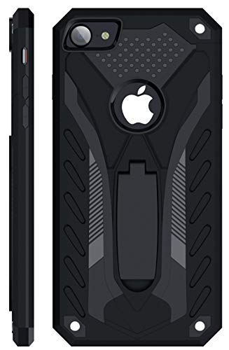Kitoo Designed for iPhone 7 Case/Designed for iPhone 8 Case/Designed for iPhone SE 2020 Case with Kickstand, Military Grade 12ft. Drop Tested - Black
