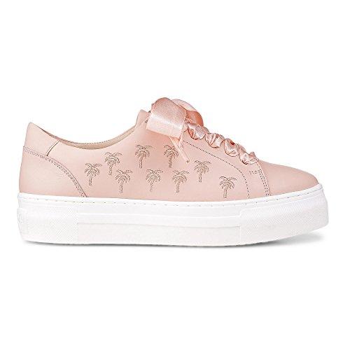 Cox Damen Plateau-Sneaker aus Leder, Schnürer in Rosa mit Dicker Sohle Rosa Leder 39