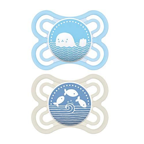 MAM Perfect Schnuller im 2er Set, fördert eine gesunde Zahn- und Kieferentwicklung, Baby Schnuller aus speziellem MAM SkinSoft Silikon mit Schnullerbox, 0 - 6 Monate, blau