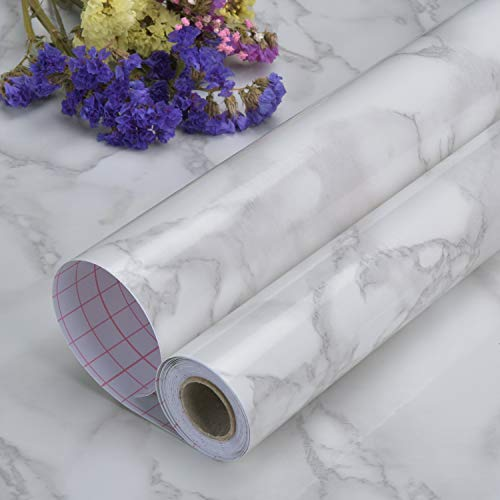 "Art3d Self-Adhesive Grey Marble Wallpaper, Matt (24""x201"")"