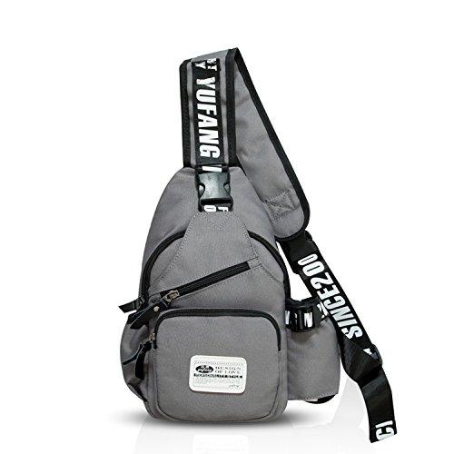 FANDARE Unisex Brusttasche, Sling Bag Rucksack, Umhängetasche Messenger Bag Schultertasche, zum Sport, Reisen und Joggen,Hiking Crossbody Bag Polyester Grau
