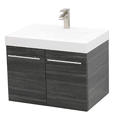"""WindBay Wall Mount Floating Bathroom Vanity Sink Set. Dark Grey Vanity, White Integrated Sink Countertop - 23.25"""""""