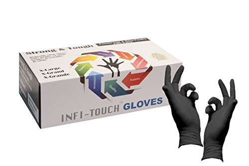 Infi-Touch Heavy Duty Nitrile Gloves, Strong & Tough, High Chemical Resistant, Disposable Gloves, Powder-Free, Non Sterile, Ambidextrous, Finger Tip Textured (1, X-Large)