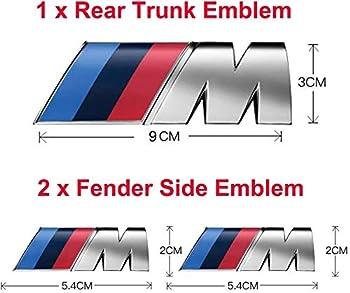 3pcs fit BMW M Power Badge Metal Tri Color Emblem Sticker,Car Rear Trunk Fender Side Emblem Badge Decal Logo Compatible for All BMW Series