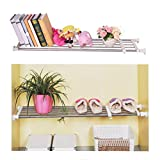 Baoyouni Adjustable Closet Tension Shelf Rod Expandable Clothes Hanging Rail Pole Dividers Wardrobe Space Saving Storage Organizer Ivory, 46.85-75 Inches