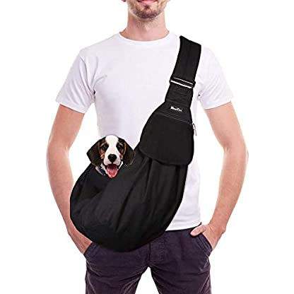 SlowTon Pet Carrier, Dog Cat Hand Free Waterpoof Sling Carrier Shoulder Bag Adjustable Strap Tote Bag with Front Pocket Safety Belt Outdoor Travel Puppy Carrier for Daily Use 1