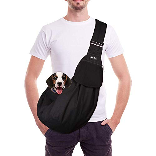 SlowTon Pet Carrier, Dog Cat Hand Free Waterpoof Sling Carrier Shoulder Bag Adjustable Strap Tote Bag with Front Pocket Safety Belt Outdoor Travel Puppy Carrier for Daily Use