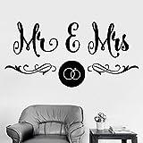 NSRJDSYT Etiqueta de la Pared de la Palabra del Arte Mr Mrs Wedding Salon Boutique Dormitorio Diseño del hogar Decoración Puerta Ventana Etiqueta de Vinilo Pareja Amor Papel Tapiz 57x115cm