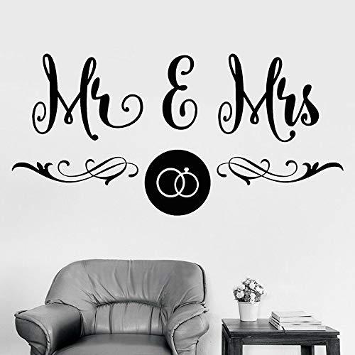 El Sr. y la Sra. Salón de bodas Decoración del hogar Etiqueta de vinilo Pareja Amor Papel tapiz
