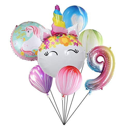 JSJJAYH Ballon Katze Ballon Anzahl Folie Globus 1-9Years Alte Geburtstags-Party Dekoration Kind Thema Party Hochzeit Agate Balls Spielzeug décoration (Color : Biue 9)