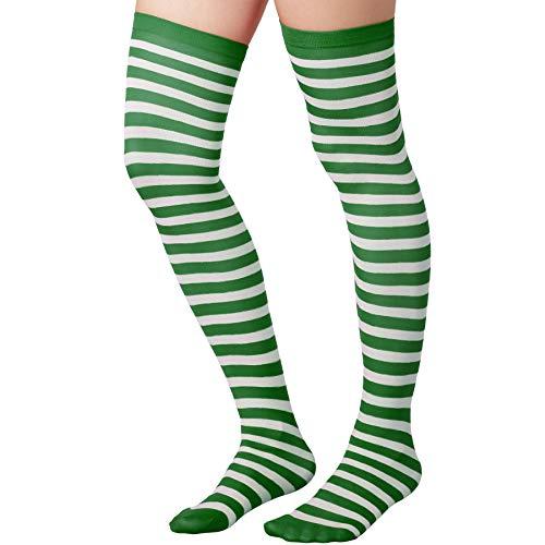 dressforfun 303445 Damen Overknee Strümpfe, Lange hohe Überknie Halterlose, Polyester & Elastan, grün weiß gestreift