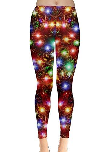 CowCow Womens Xmas Lights Leggings, Xmas Lights - M