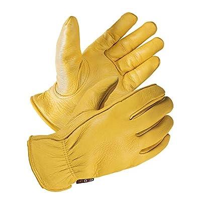 SKYDEER Full Premium Genuine Deerskin Leather Hi-Performance Utility Driver Work Gloves (SD2210/S, Unlined)