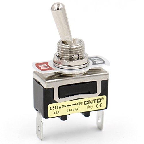 Heschen Interrupteur à bascule en métal C511A SPST maintenu ON/OFF 2 positions 15 A 250 V AC 2 languettes CE