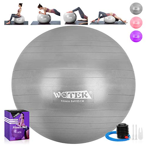 WOTEK Gymnastikball Sitzball Pilates Anti-Burst 65cm/75cm,Dicker Explosionsgeschützter Pilates Ball mit Pumpe,300KG für Yoga, Fitness,Heim, Büro,sitzball,Schwangere