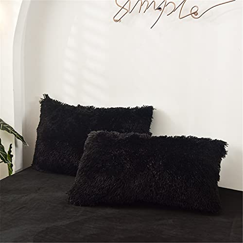 SOUKECHY 2 PC Fluffy Faux Fur Pillow Case,Cozy Shaggy Plush Pillow Shams, Furry Crystal Velvet Pillow Cover,Luxury Long Fleece Decorative Pillowcases with Zipper Closure (Black, Queen)