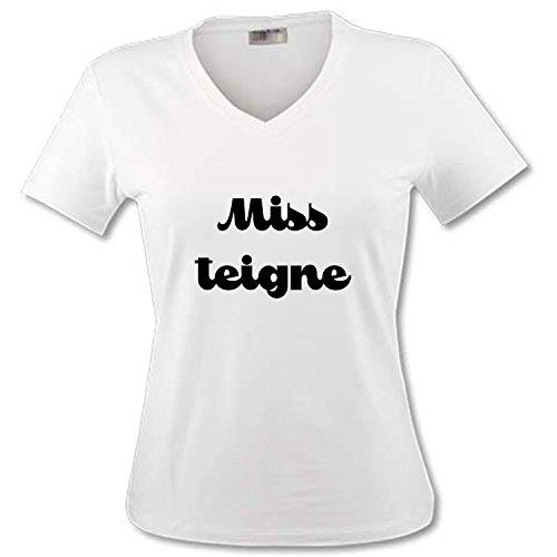 YONACREA - T-Shirt Col V Adulte - Miss teigne - M