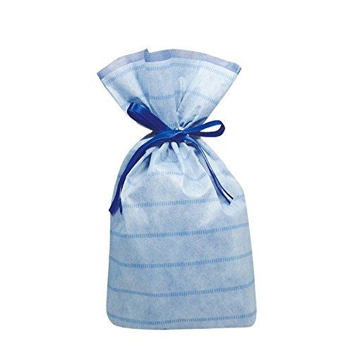 カクケイ 巾着袋 不織布 リボン付 底マチ付 10枚 M ブルー FK3053