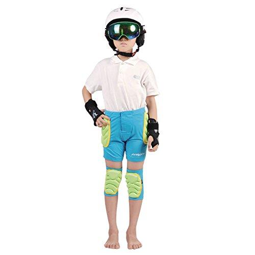 CHIC-Kinder Schutzausrüstung Skater Padded Shorts Fahrradhose Unterwäsche Shutz Ski Warm 3-8 Jahre (Blau, XXXS)