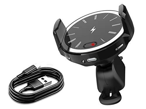 スマートフォン車載器 Qi ワイヤレス充電 ブラック スマホ ホルダー 静音設計 10W/7.5W/5Wオート 自動開閉 USB TYPE-C