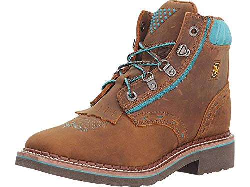 Dan Post Womens Tan/Turquoise Work Boots Leather Square Toe 10 M