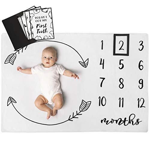 Henry Hunter Baby Blanket for Monthly Milestones with Frame & Memory Cards | Photography Prop for Baby Girl Cotton Fleece | 30 x 40 inches (Regular, Arrows)