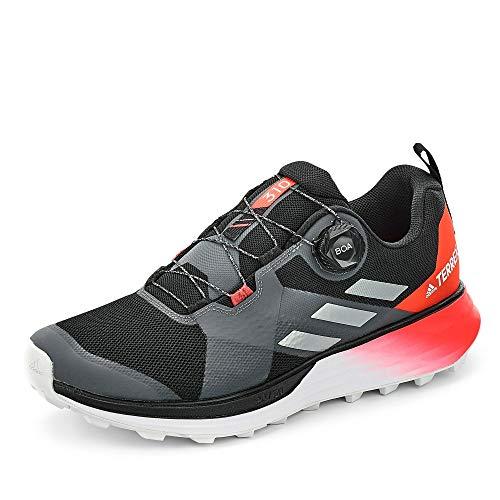 adidas Herren Terrex Two Boa Leichtathletik-Schuh, Kern Schwarz/Silber Met./Solar Rot, 42 2/3 EU