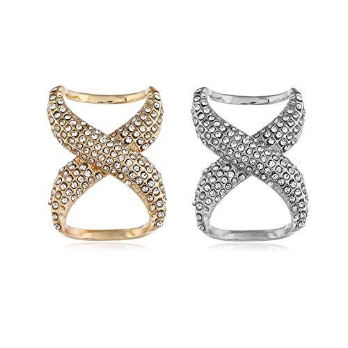 SYBL 2PCS Rhinestone Inlayed Scarves Buckle Simple Fashion Scarf Clip Scarf Ring Wrap Clamp Silk Scarf Clasp Holder for Clothing Neckerchief Shawl (Golden + Silver)