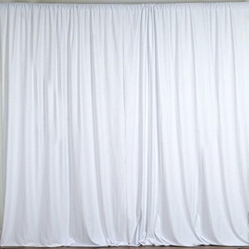 """lovemyfabric 100% Polyester Window Curtain/Stage Backdrop Curtain/Photography Backdrop 58"""" Inch X 108"""" Inch (1, White)"""