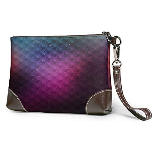 baowen Cartera de cuero para mujer Cartera de embrague Monedero de almacenamiento de geometría con bolsa de cremallera con correa