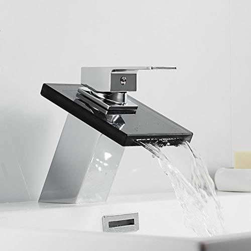 Bad Wasserfall Wasserhahn Glas Wasserfall Messing Waschbecken Wasserhahn Bad Mischbatterie Deck montiert Becken Waschbecken Mischbatterie, B, mit Schlauch 9-16 Größe