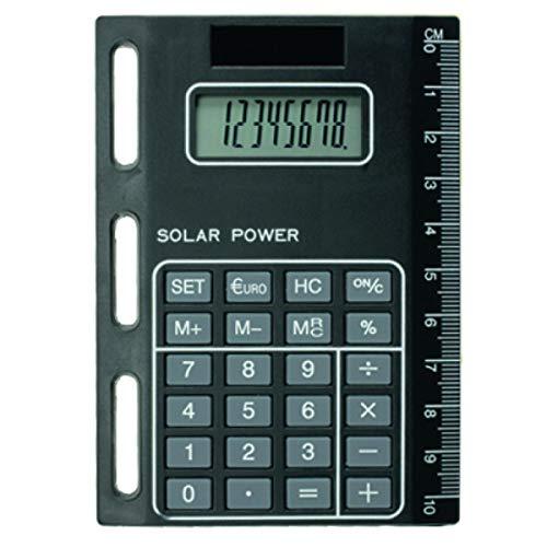 bind 1020 - Solarrechner mit Universallochung, Taschenrechner mit Solarzelle zum Einheften für Timeplaner, Kalendermappen und Ringbücher, Rechner ca. 11 x 8 cm, aus schwarzem Kunststoff