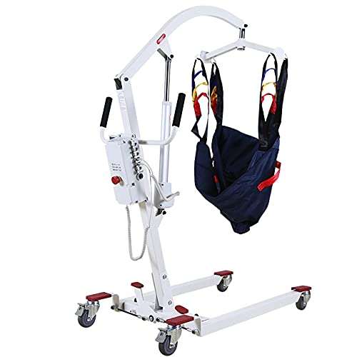 FMOGQ Patient Lifting Hoist, Electric Patient Lift Hydraulic Medical Body Lift Compact Size Patient Transfer Lifter, for Home Use Facilities Use,Silver,Electricity Storage