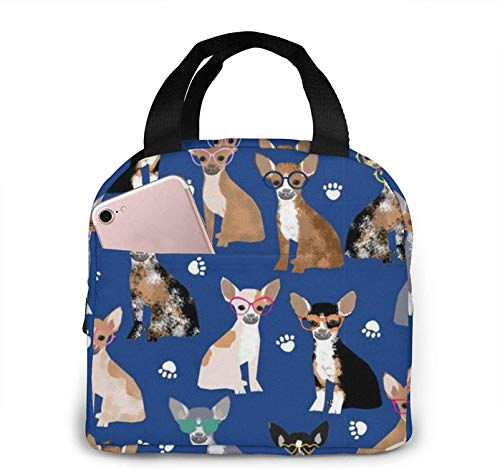 Chihuahua Sunglasses Summer Dog Lunch Bag Cooler Bag Adult Tote Bag Insulated Lunch Bag Water-Resistant Thermal Lunch Bag Soft Liner Lunch Bags for Picnic/Boating/Beach/Fishing/Work