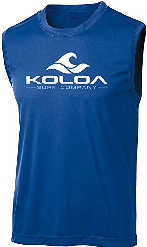 Koloa Surf Wave Logo Moisture Wicking Sleeveless T-Shirt-Royal/White-XL