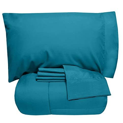 Sweet Home Collection 5 Piece Comforter Set Bag Solid Color All Season Soft Down Alternative Blanket & Luxurious Microfiber Bed Sheets, Twin, Teal