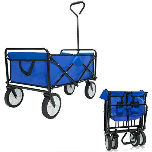 Lucn Bollerwagen Faltbar Handwagen Klappbar Faltwagen Gartenwagen Strandwagen Outdoor Klappwagen alle Gelände geeignet Vorderräder 360° drehbar - Blau