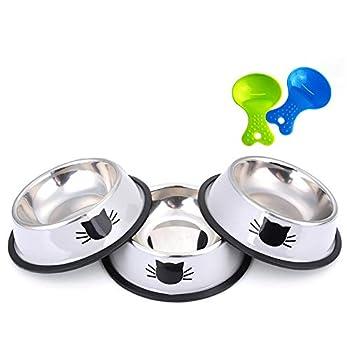 Legendog Gamelle Chat,3 Pcs Bol Chat en Gamelle Chat INOX Facile à Nettoyer - Antidérapant - Motif d'impression 3D Conçu pour Les Chats
